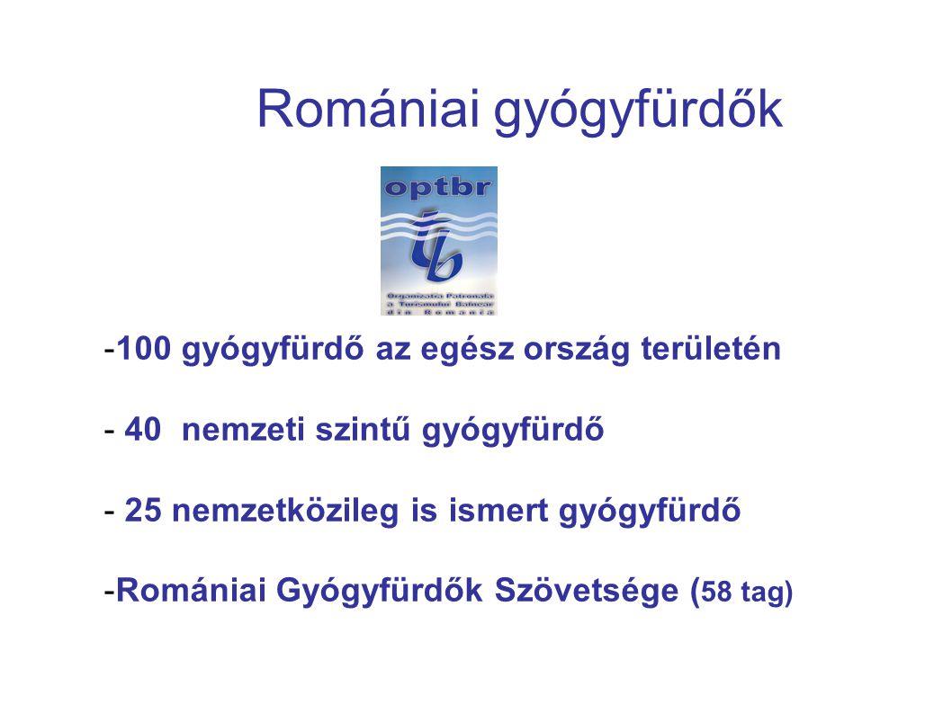 Romániai gyógyfürdők -100 gyógyfürdő az egész ország területén - 40 nemzeti szintű gyógyfürdő - 25 nemzetközileg is ismert gyógyfürdő -Romániai Gyógyfürdők Szövetsége ( 58 tag)