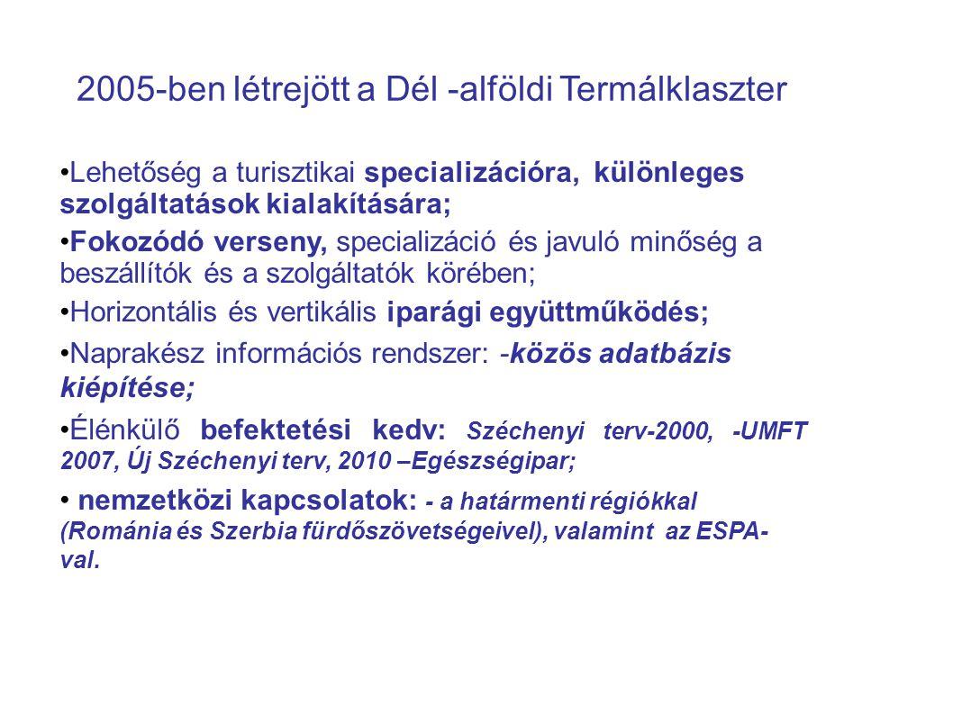 2005-ben létrejött a Dél -alföldi Termálklaszter Lehetőség a turisztikai specializációra, különleges szolgáltatások kialakítására; Fokozódó verseny, specializáció és javuló minőség a beszállítók és a szolgáltatók körében; Horizontális és vertikális iparági együttműködés; Naprakész információs rendszer: -közös adatbázis kiépítése; Élénkülő befektetési kedv: Széchenyi terv-2000, -UMFT 2007, Új Széchenyi terv, 2010 –Egészségipar; nemzetközi kapcsolatok: - a határmenti régiókkal (Románia és Szerbia fürdőszövetségeivel), valamint az ESPA- val.