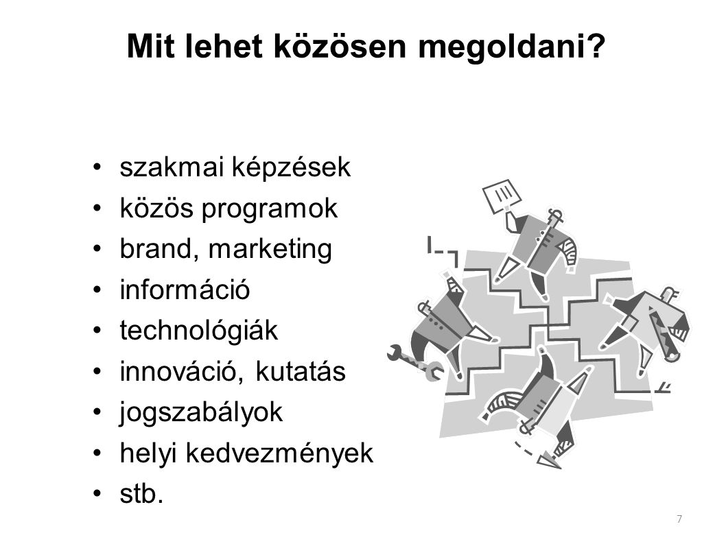 Mit lehet közösen megoldani? szakmai képzések közös programok brand, marketing információ technológiák innováció, kutatás jogszabályok helyi kedvezmén