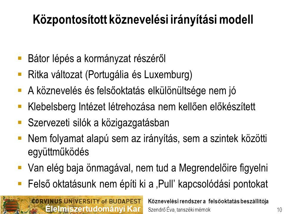 Élelmiszertudományi Kar 10 Központosított köznevelési irányítási modell  Bátor lépés a kormányzat részéről  Ritka változat (Portugália és Luxemburg)