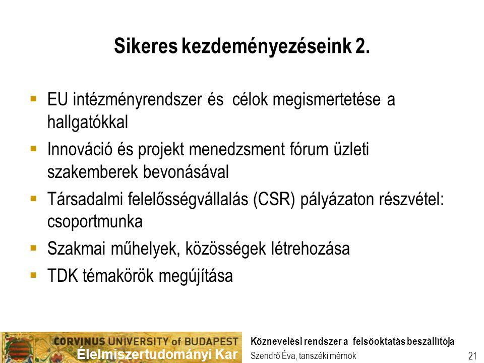 Élelmiszertudományi Kar 21 Sikeres kezdeményezéseink 2. Szendrő Éva, tanszéki mérnök Köznevelési rendszer a felsőoktatás beszállítója  EU intézményre