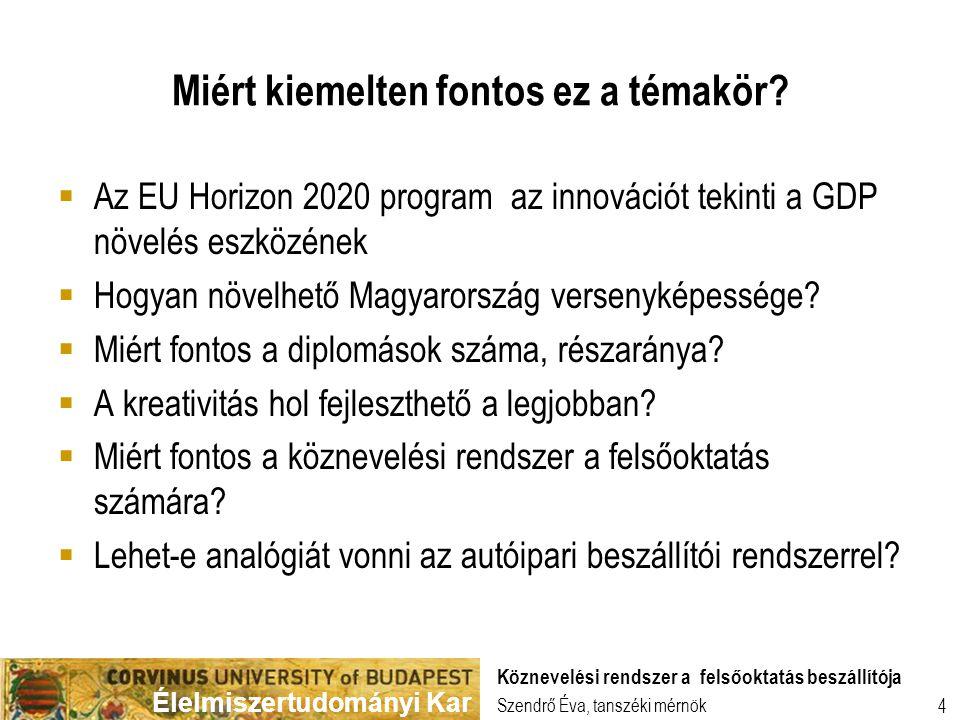 Élelmiszertudományi Kar Szendrő Éva, tanszéki mérnök Köznevelési rendszer a felsőoktatás beszállítója 4 Miért kiemelten fontos ez a témakör?  Az EU H