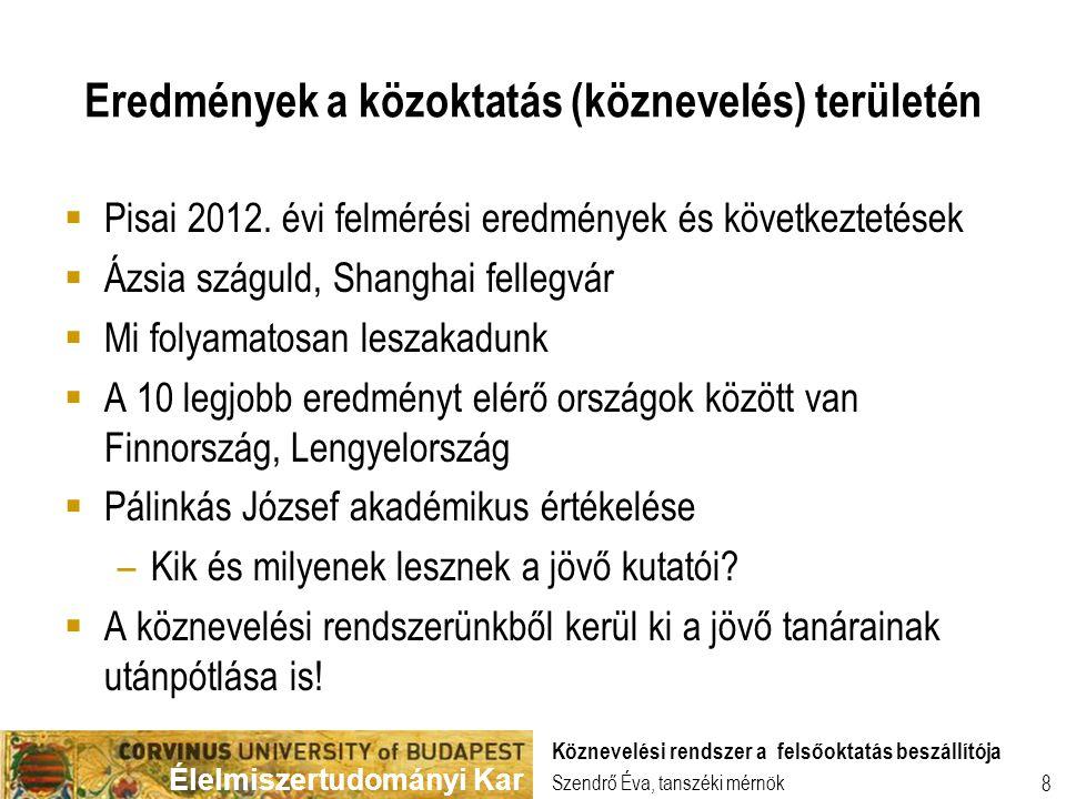 Élelmiszertudományi Kar 8 Eredmények a közoktatás (köznevelés) területén  Pisai 2012. évi felmérési eredmények és következtetések  Ázsia száguld, Sh