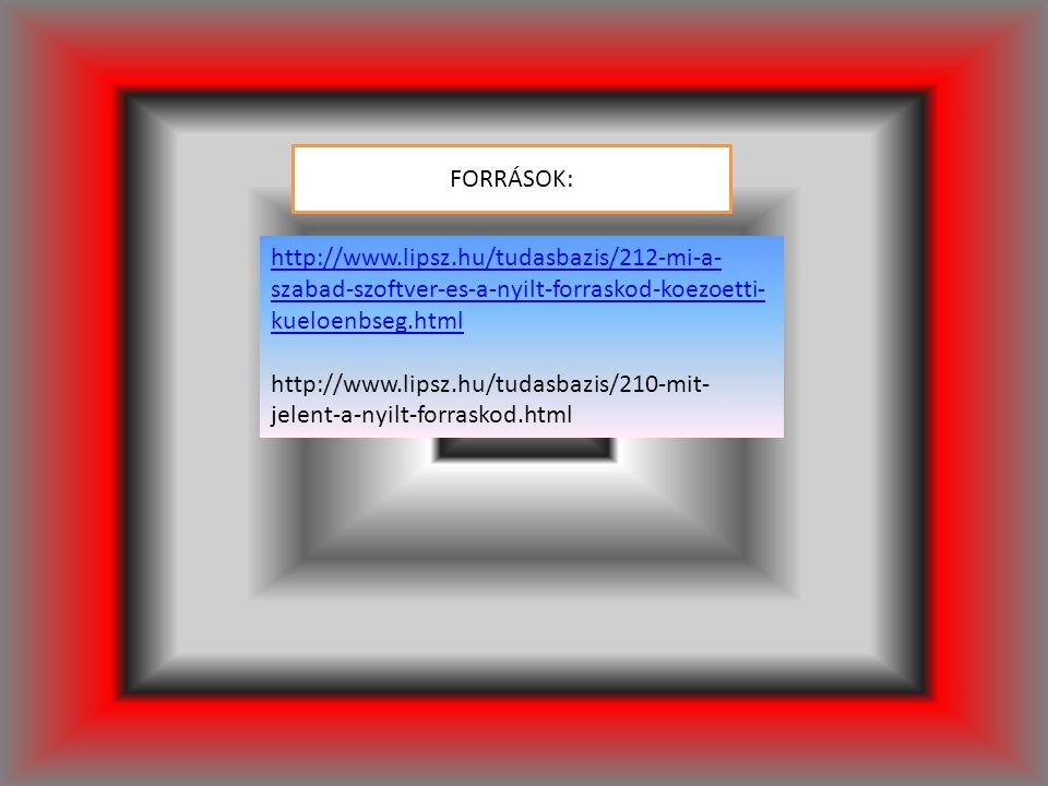 http://www.lipsz.hu/tudasbazis/212-mi-a- szabad-szoftver-es-a-nyilt-forraskod-koezoetti- kueloenbseg.html http://www.lipsz.hu/tudasbazis/210-mit- jelent-a-nyilt-forraskod.html FORRÁSOK: