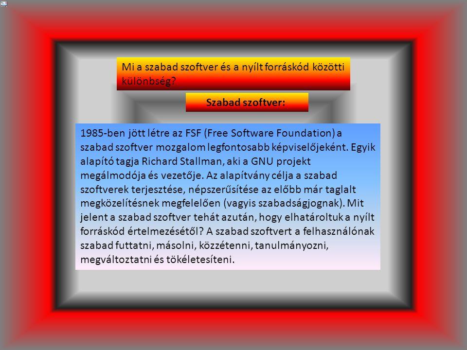 Szabad szoftver: 1985-ben jött létre az FSF (Free Software Foundation) a szabad szoftver mozgalom legfontosabb képviselőjeként.