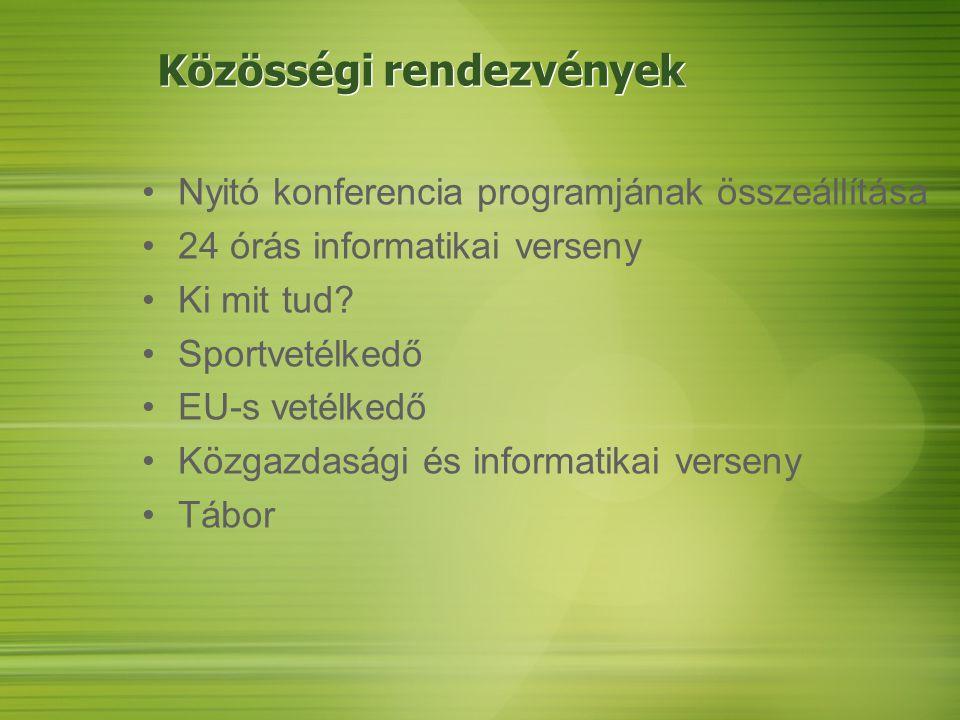 Közösségi rendezvények Nyitó konferencia programjának összeállítása 24 órás informatikai verseny Ki mit tud.