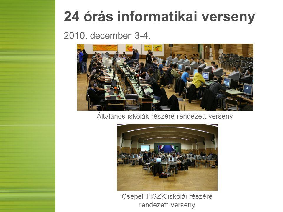24 órás informatikai verseny 2010. december 3-4. Általános iskolák részére rendezett verseny Csepel TISZK iskolái részére rendezett verseny