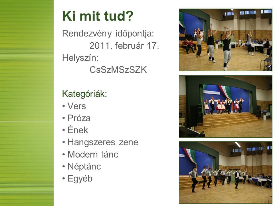Ki mit tud? Rendezvény időpontja: 2011. február 17. Helyszín: CsSzMSzSZK Kategóriák: Vers Próza Ének Hangszeres zene Modern tánc Néptánc Egyéb