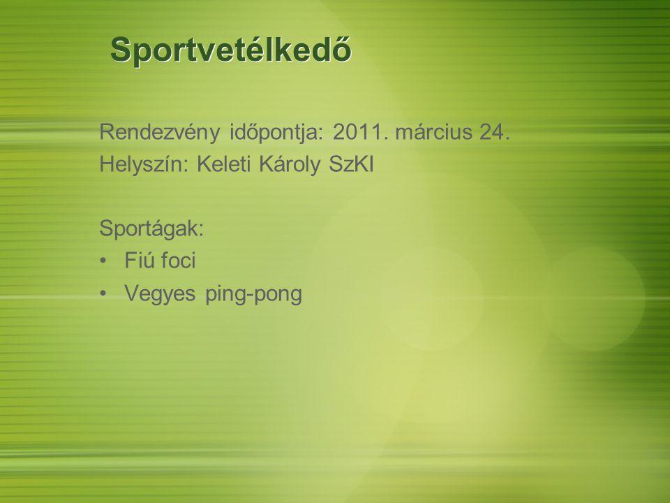 Sportvetélkedő Rendezvény időpontja: 2011. március 24. Helyszín: Keleti Károly SzKI Sportágak: Fiú foci Vegyes ping-pong