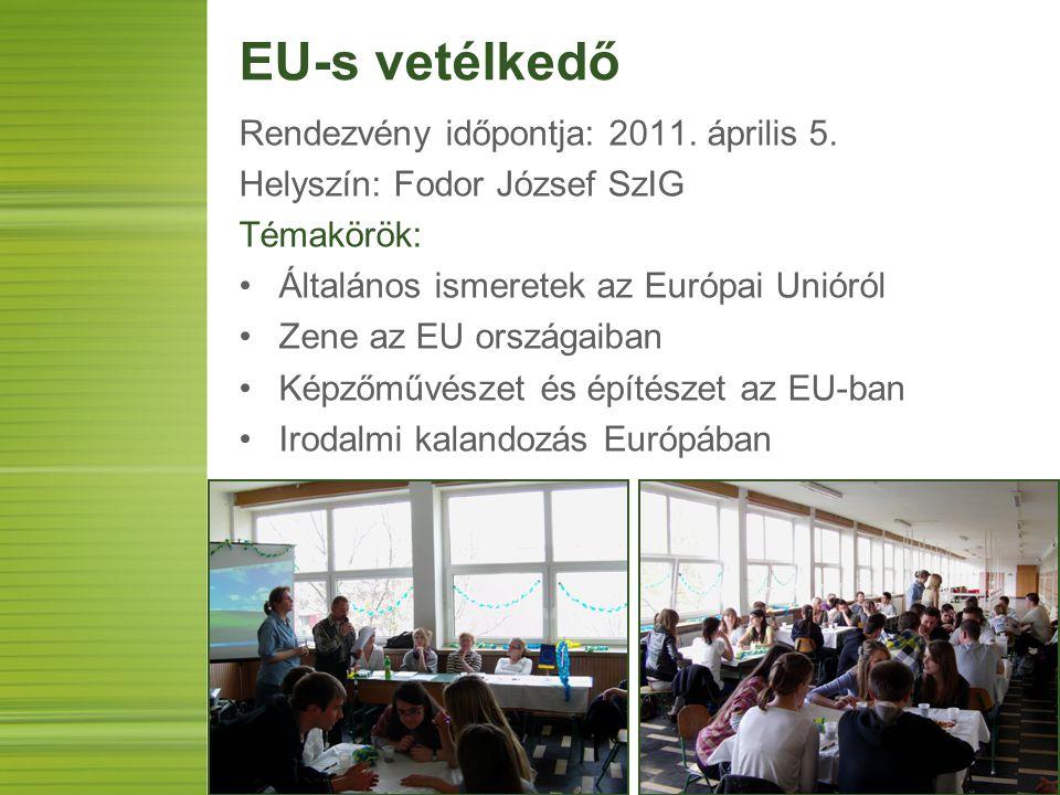 EU-s vetélkedő Rendezvény időpontja: 2011. április 5. Helyszín: Fodor József SzIG Témakörök: Általános ismeretek az Európai Unióról Zene az EU országa