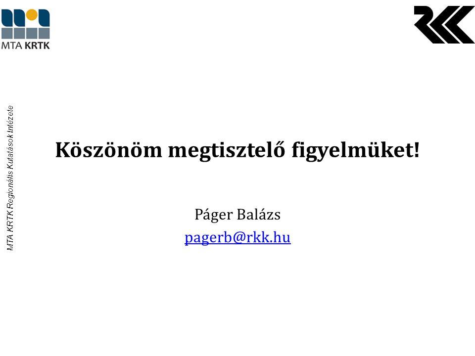 MTA KRTK Regionális Kutatások Intézete Köszönöm megtisztelő figyelmüket! Páger Balázs pagerb@rkk.hu