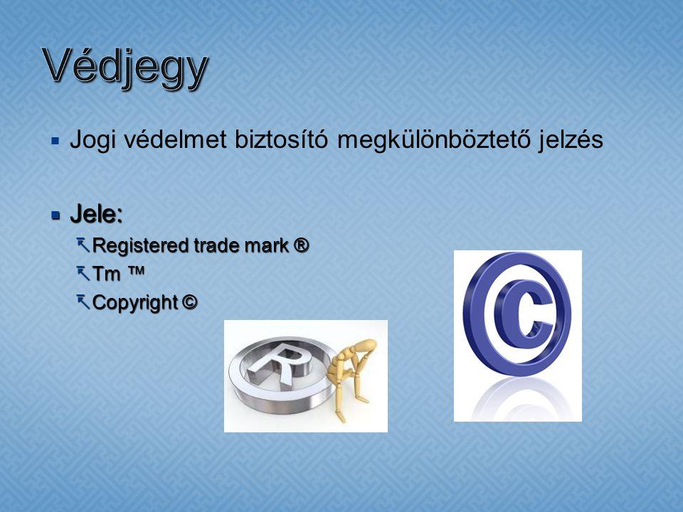  Jogi védelmet biztosító megkülönböztető jelzés  Jele:  Registered trade mark ®  Tm ™  Copyright ©