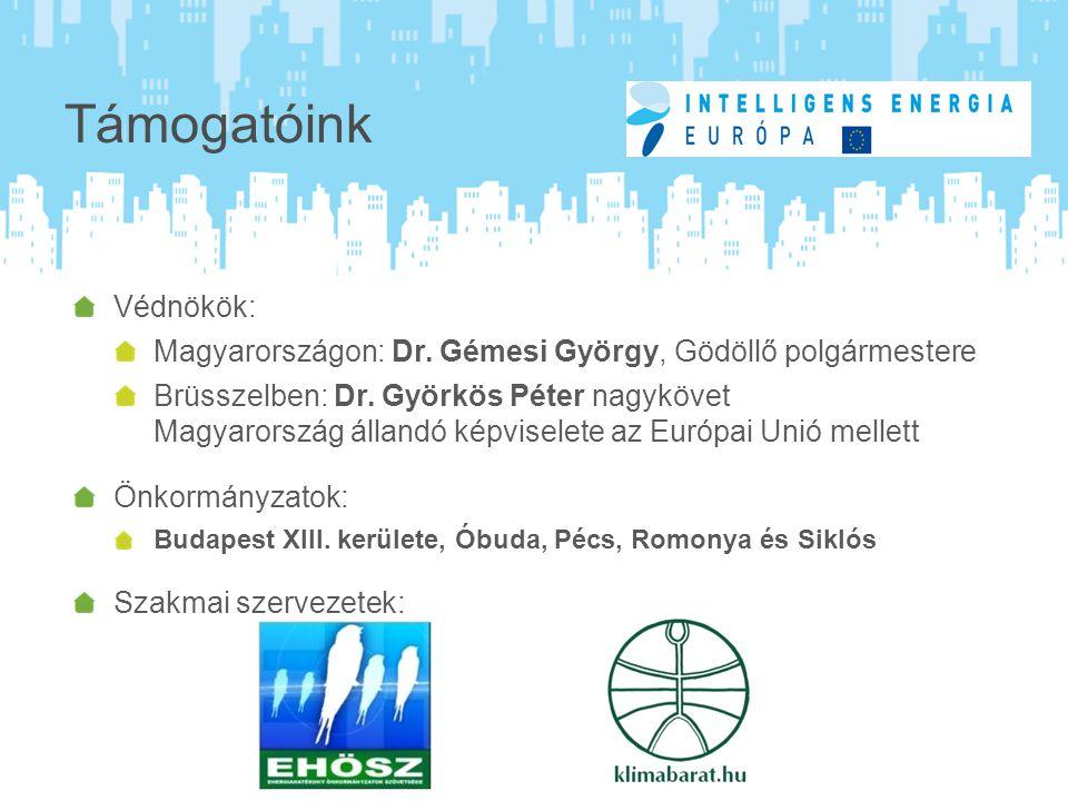 Támogatóink Védnökök: Magyarországon: Dr. Gémesi György, Gödöllő polgármestere Brüsszelben: Dr.