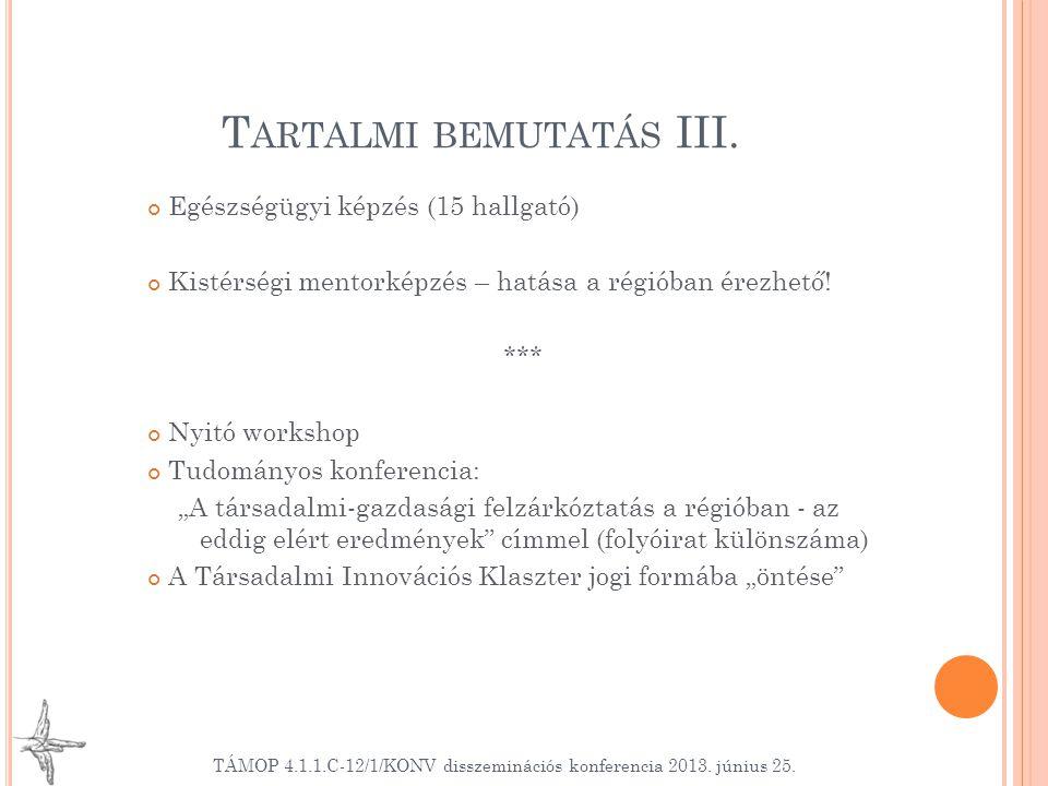 T ARTALMI BEMUTATÁS III. Egészségügyi képzés (15 hallgató) Kistérségi mentorképzés – hatása a régióban érezhető! *** Nyitó workshop Tudományos konfere