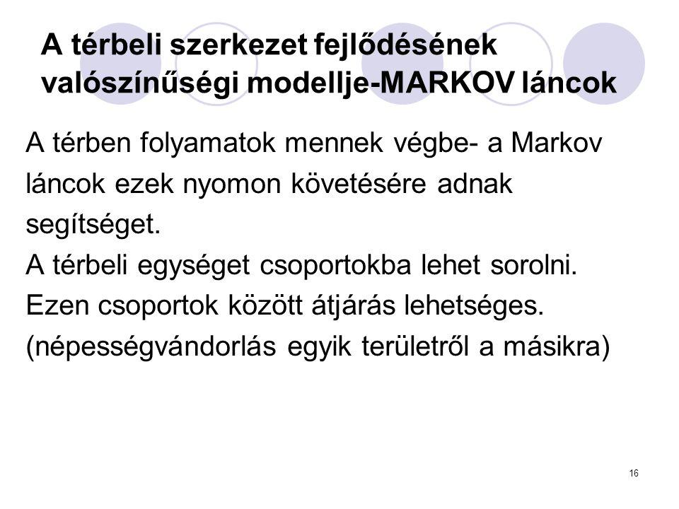 16 A térbeli szerkezet fejlődésének valószínűségi modellje-MARKOV láncok A térben folyamatok mennek végbe- a Markov láncok ezek nyomon követésére adna