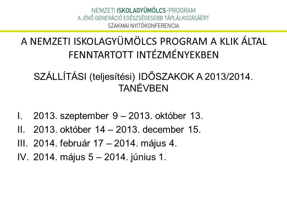 A NEMZETI ISKOLAGYÜMÖLCS PROGRAM A KLIK ÁLTAL FENNTARTOTT INTÉZMÉNYEKBEN SZÁLLÍTÁSI (teljesítési) IDŐSZAKOK A 2013/2014. TANÉVBEN I.2013. szeptember 9