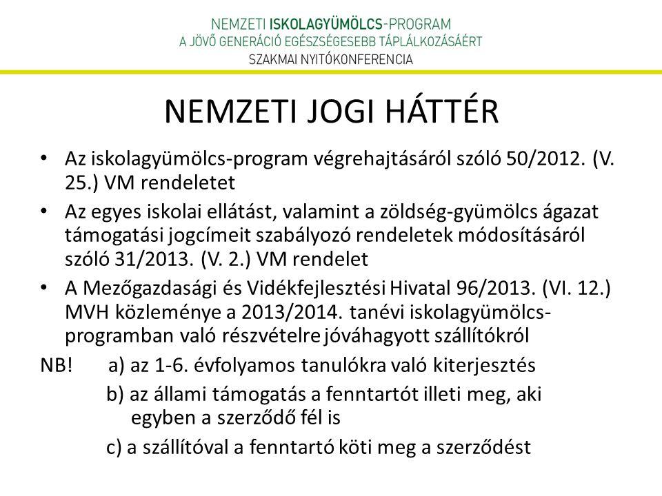 NEMZETI JOGI HÁTTÉR Az iskolagyümölcs-program végrehajtásáról szóló 50/2012. (V. 25.) VM rendeletet Az egyes iskolai ellátást, valamint a zöldség-gyüm