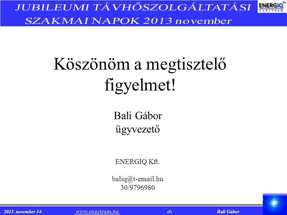 2013. november 14. www.enacteam.hu 17 Bali Gábor www.enacteam.hu Köszönöm a megtisztelő figyelmet! Bali Gábor ügyvezető ENERGIQ Kft. baliq@t-email.hu
