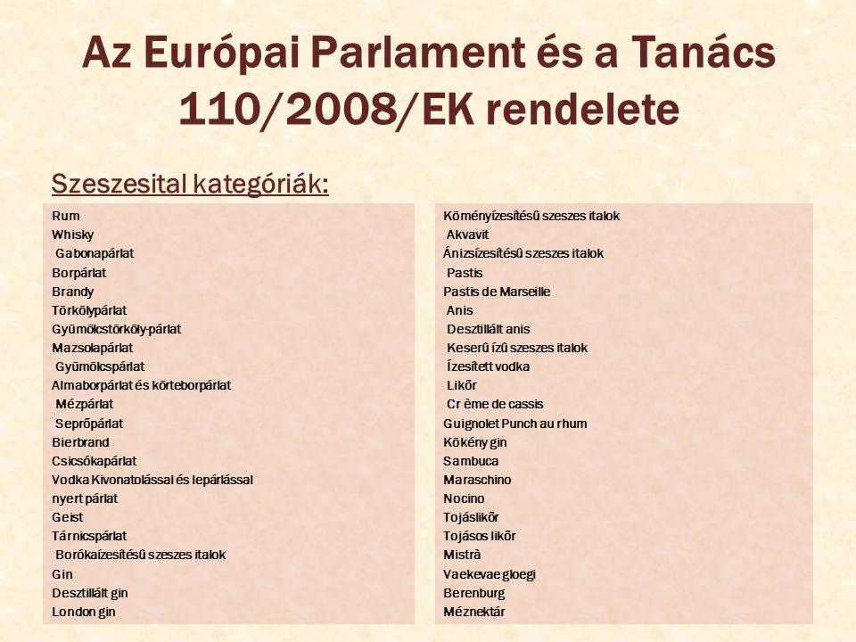 Az Európai Parlament és a Tanács 110/2008/EK rendelete Szeszesital kategóriák: Rum Whisky Gabonapárlat Borpárlat Brandy Törkölypárlat Gyümölcstörköly-