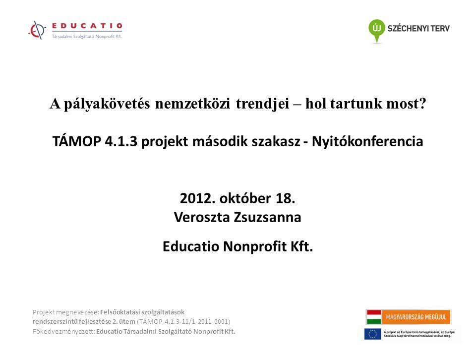 A pályakövetés nemzetközi trendjei – hol tartunk most? TÁMOP 4.1.3 projekt második szakasz - Nyitókonferencia 2012. október 18. Veroszta Zsuzsanna Edu