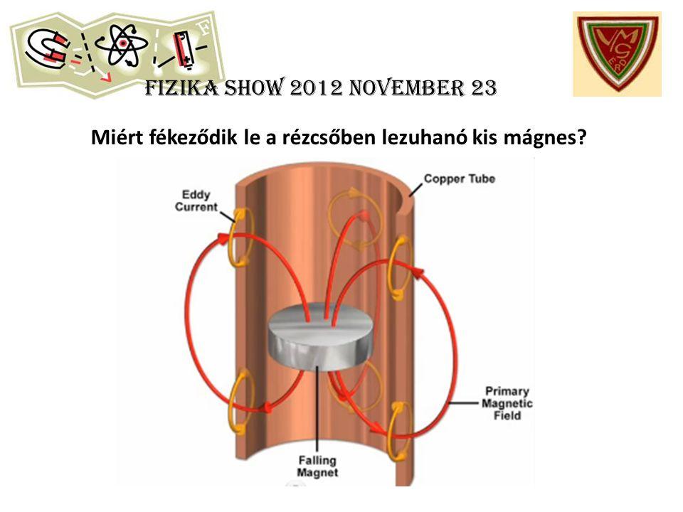 Fizika show 2012 november 23 Miért fékeződik le a rézcsőben lezuhanó kis mágnes?