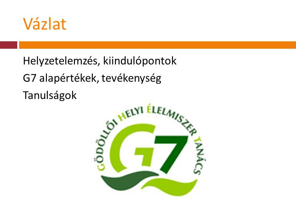 Vázlat Helyzetelemzés, kiindulópontok G7 alapértékek, tevékenység Tanulságok