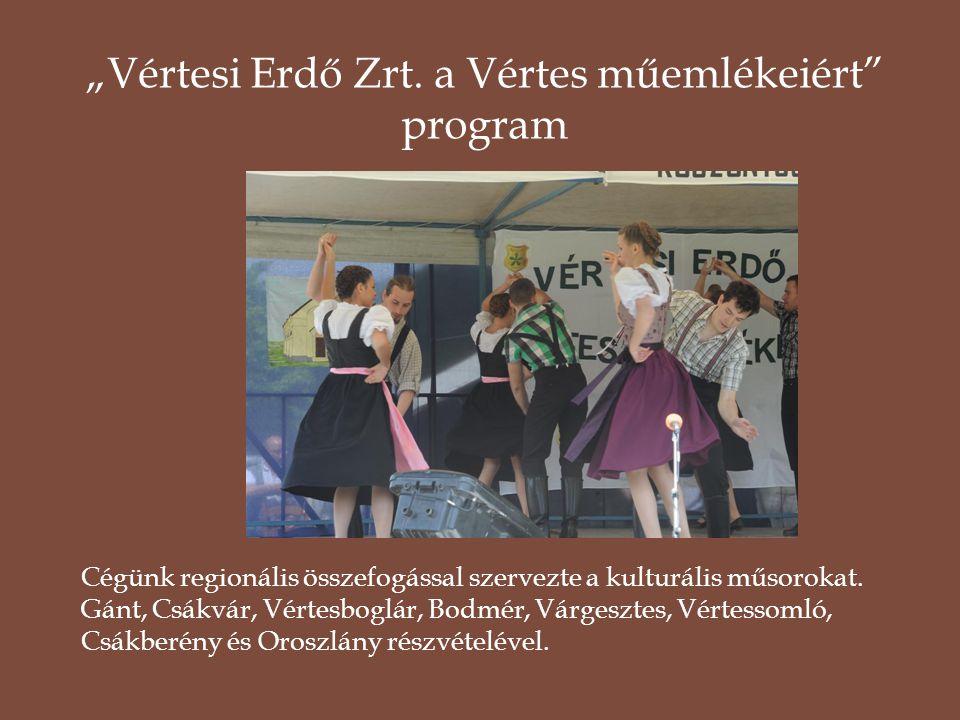 Cégünk regionális összefogással szervezte a kulturális műsorokat. Gánt, Csákvár, Vértesboglár, Bodmér, Várgesztes, Vértessomló, Csákberény és Oroszlán