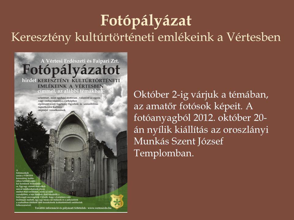 Fotópályázat Keresztény kultúrtörténeti emlékeink a Vértesben Október 2-ig várjuk a témában, az amatőr fotósok képeit. A fotóanyagból 2012. október 20