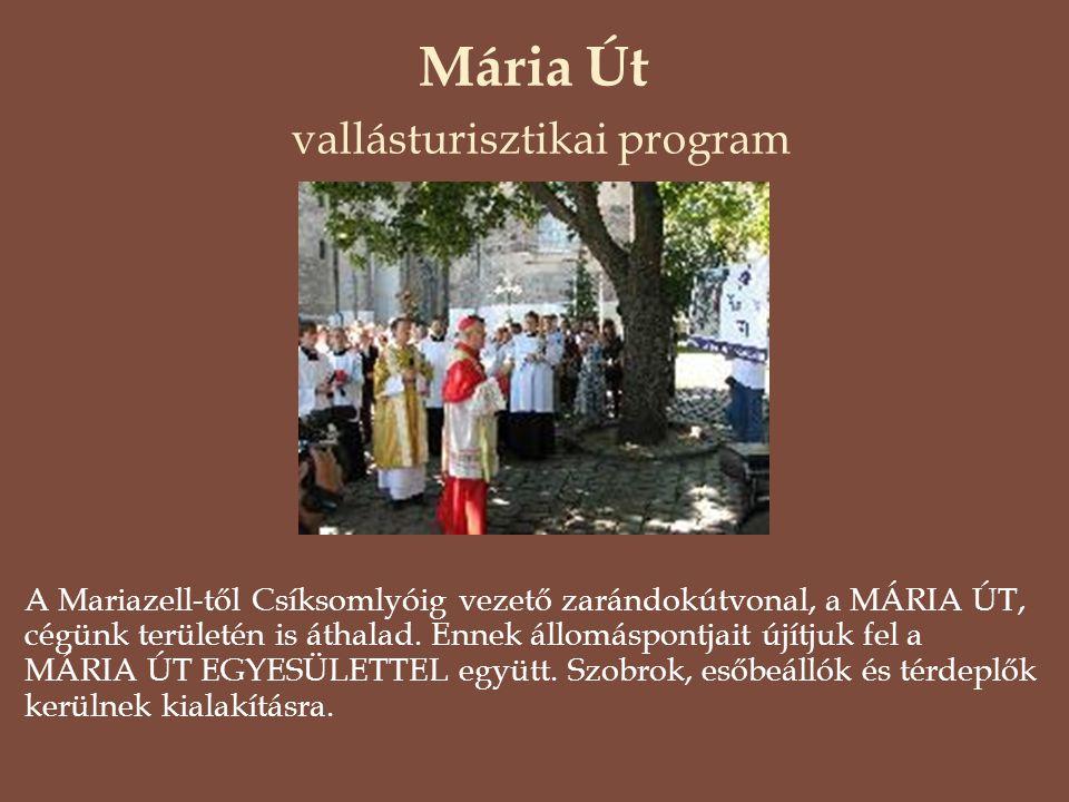 Mária Út vallásturisztikai program A Mariazell-től Csíksomlyóig vezető zarándokútvonal, a MÁRIA ÚT, cégünk területén is áthalad. Ennek állomáspontjait