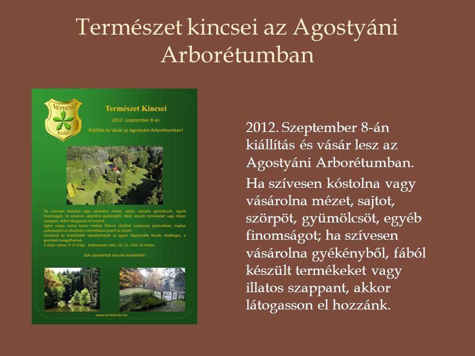 Természet kincsei az Agostyáni Arborétumban 2012. Szeptember 8-án kiállítás és vásár lesz az Agostyáni Arborétumban. Ha szívesen kóstolna vagy vásárol