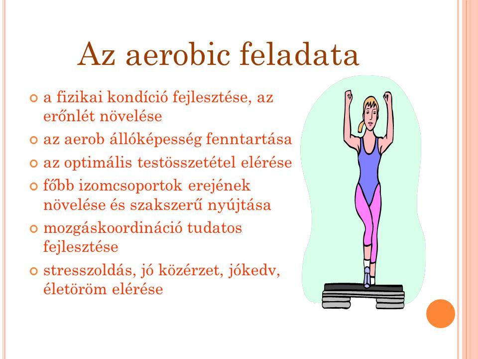Az aerobic feladata a fizikai kondíció fejlesztése, az erőnlét növelése az aerob állóképesség fenntartása az optimális testösszetétel elérése főbb izo