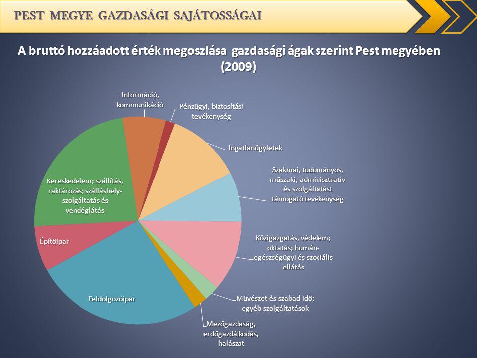 PEST MEGYE GAZDASÁGI SAJÁTOSSÁGAI A bruttó hozzáadott érték megoszlása gazdasági ágak szerint Pest megyében (2009)