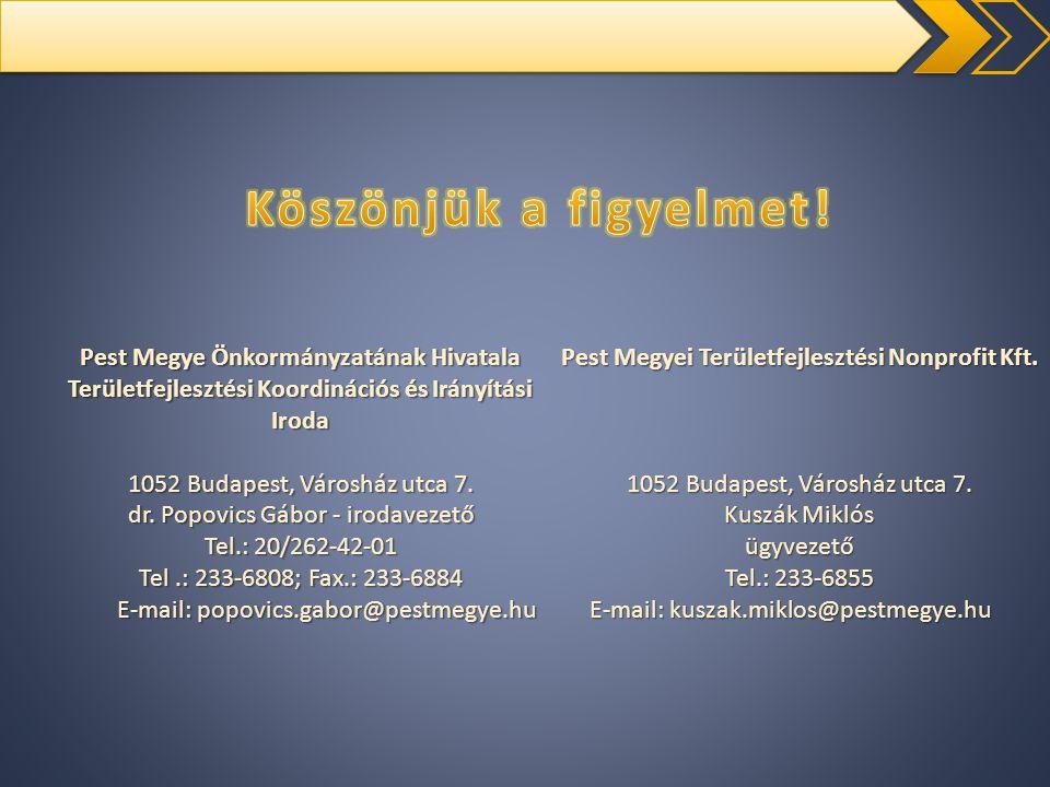 Pest Megye Önkormányzatának Hivatala Területfejlesztési Koordinációs és Irányítási Iroda 1052 Budapest, Városház utca 7. dr. Popovics Gábor - irodavez