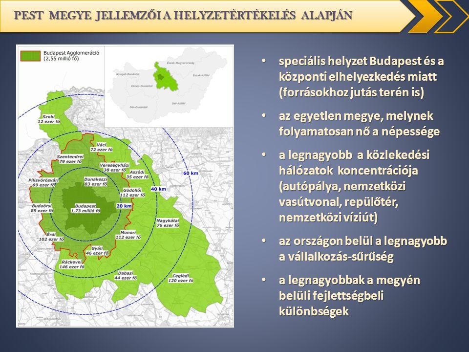 PEST MEGYE JELLEMZ Ő I A HELYZETÉRTÉKELÉS ALAPJÁN speciális helyzet Budapest és a központi elhelyezkedés miatt (forrásokhoz jutás terén is) speciális