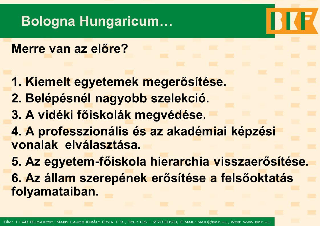 Bologna Hungaricum… Merre van az előre. 1. Kiemelt egyetemek megerősítése.