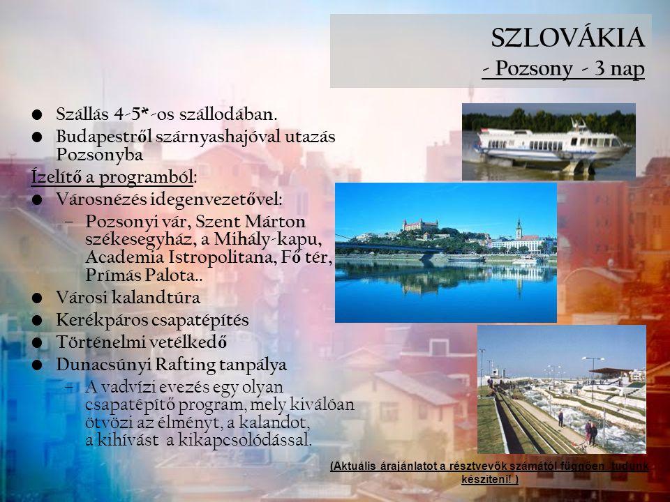 SZLOVÁKIA - Pozsony - 3 nap Szállás 4-5*-os szállodában. Budapestr ő l szárnyashajóval utazás Pozsonyba Ízelít ő a programból: Városnézés idegenvezet
