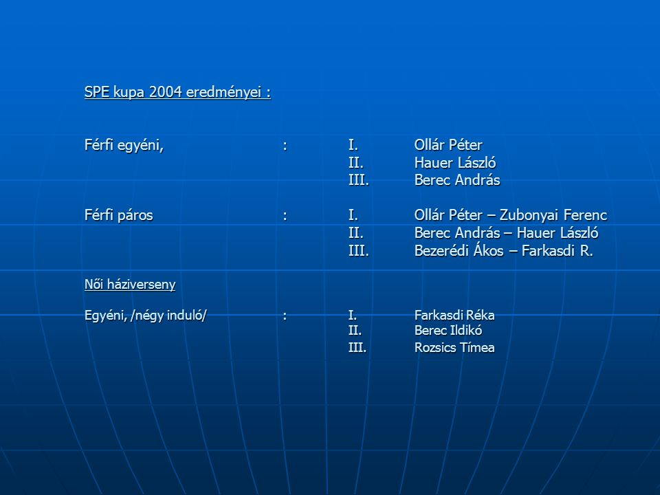 SPE kupa 2004 eredményei : Férfi egyéni, : I.