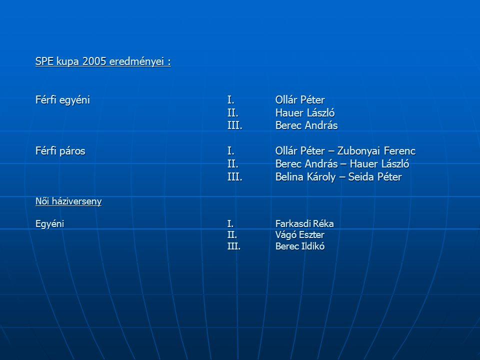 SPE kupa 2005 eredményei : Férfi egyéni I. Ollár Péter II.Hauer László III.Berec András Férfi páros I. Ollár Péter – Zubonyai Ferenc II. Berec András