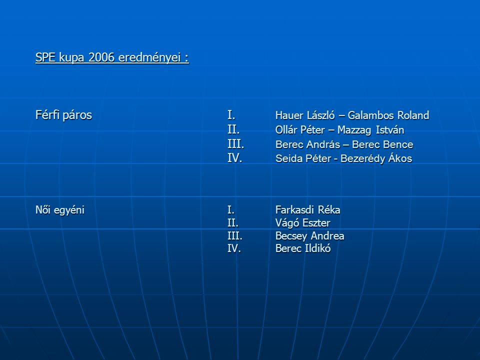 SPE kupa 2006 eredményei : Férfi páros I. Hauer László – Galambos Roland II. Ollár Péter – Mazzag István III. Berec András – Berec Bence IV. Seida Pét