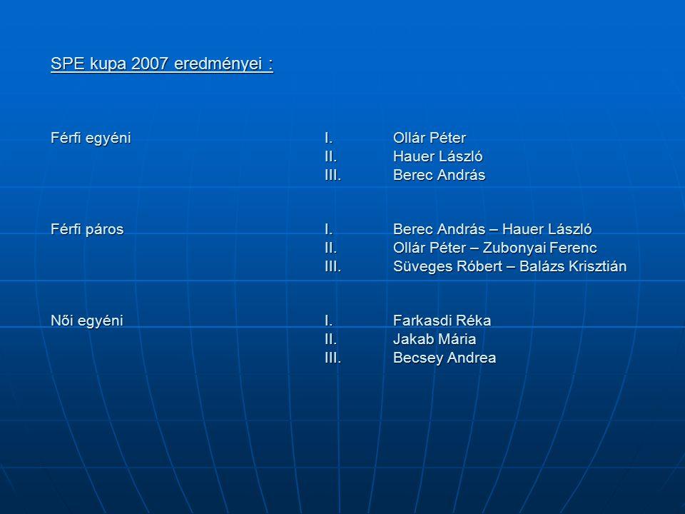 SPE kupa 2007 eredményei : Férfi egyéniI.Ollár Péter II.Hauer László III.Berec András Férfi páros I. Berec András – Hauer László II. Ollár Péter – Zub