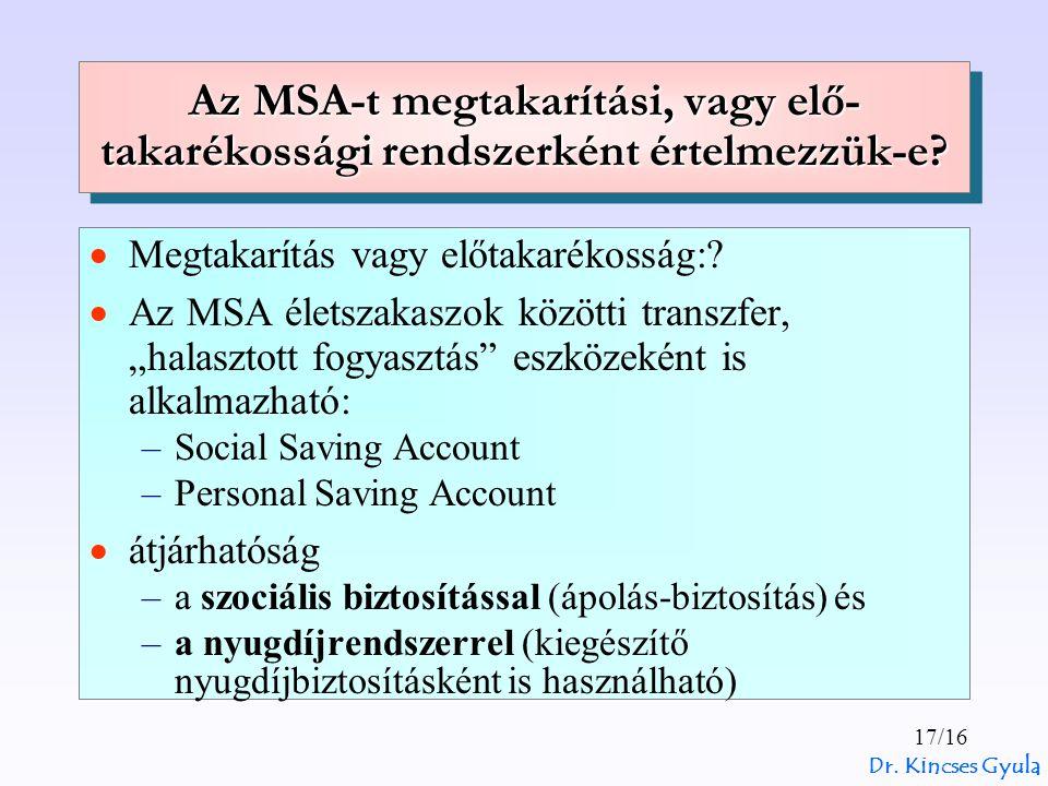 Dr. Kincses Gyula 17/16 Az MSA-t megtakarítási, vagy elő- takarékossági rendszerként értelmezzük-e?  Megtakarítás vagy előtakarékosság:?  Az MSA éle