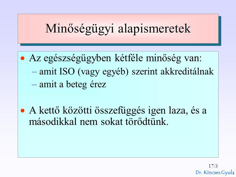 Dr. Kincses Gyula 17/3 Minőségügyi alapismeretek  Az egészségügyben kétféle minőség van: –amit ISO (vagy egyéb) szerint akkreditálnak –amit a beteg é