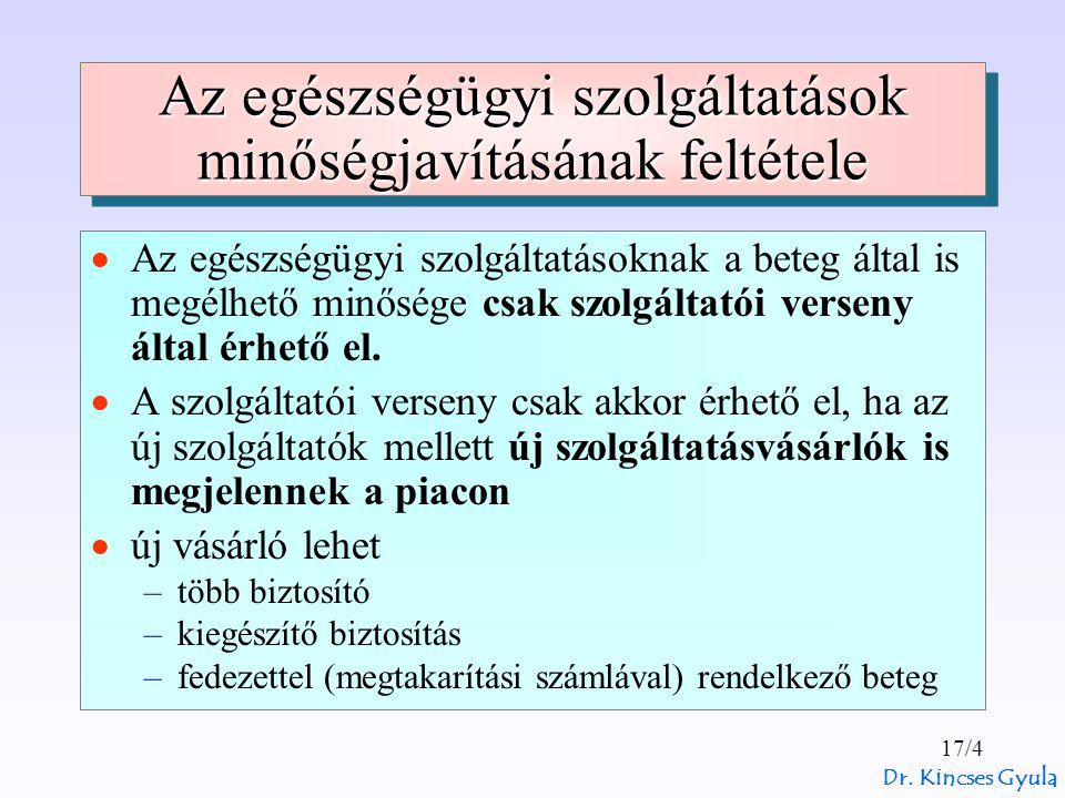 Dr. Kincses Gyula 17/4 Az egészségügyi szolgáltatások minőségjavításának feltétele  Az egészségügyi szolgáltatásoknak a beteg által is megélhető minő