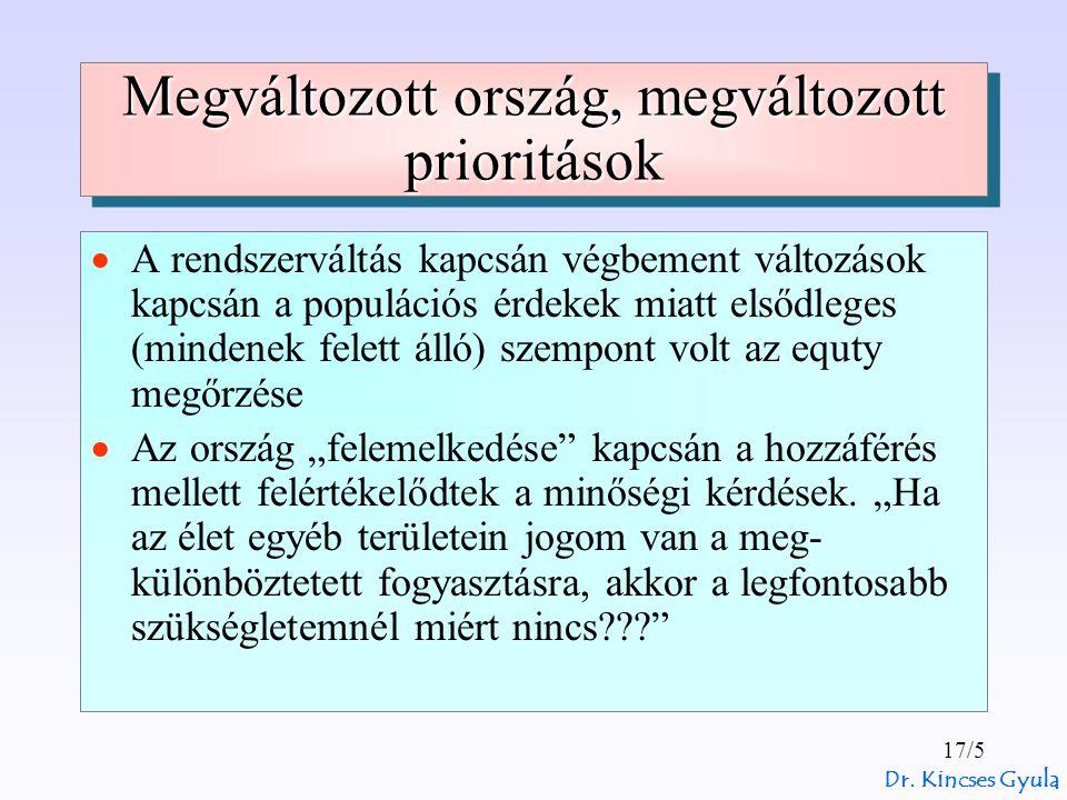 Dr. Kincses Gyula 17/5 Megváltozott ország, megváltozott prioritások  A rendszerváltás kapcsán végbement változások kapcsán a populációs érdekek miat