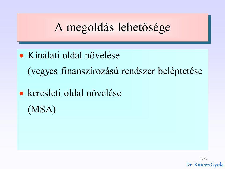 Dr. Kincses Gyula 17/7 A megoldás lehetősége  Kínálati oldal növelése (vegyes finanszírozású rendszer beléptetése  keresleti oldal növelése (MSA)