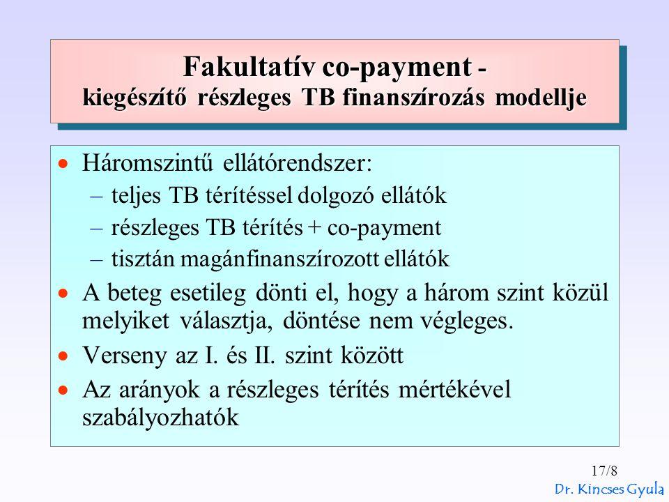 Dr. Kincses Gyula 17/8 Fakultatív co-payment - kiegészítő részleges TB finanszírozás modellje  Háromszintű ellátórendszer: –teljes TB térítéssel dolg