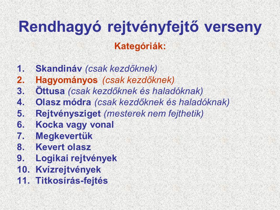 Rendhagyó rejtvényfejtő verseny Kategóriák: 1.Skandináv (csak kezdőknek) 2.Hagyományos (csak kezdőknek) 3.Öttusa (csak kezdőknek és haladóknak) 4.Olas