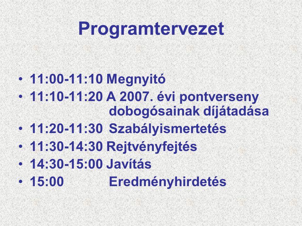 Programtervezet 11:00-11:10 Megnyitó 11:10-11:20 A 2007. évi pontverseny dobogósainak díjátadása 11:20-11:30Szabályismertetés 11:30-14:30 Rejtvényfejt