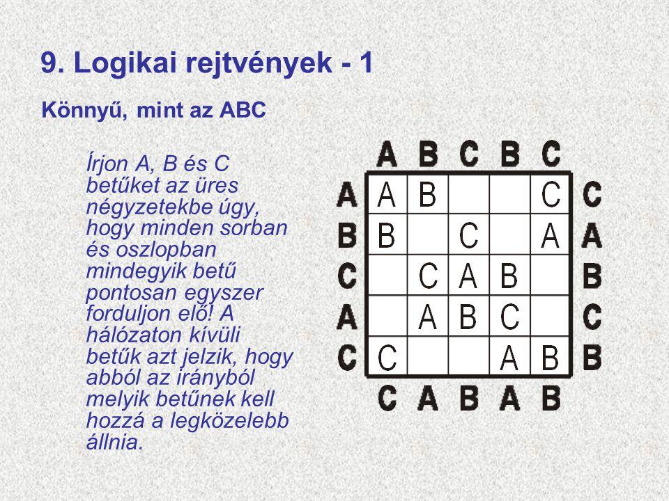 9. Logikai rejtvények - 1 Könnyű, mint az ABC Írjon A, B és C betűket az üres négyzetekbe úgy, hogy minden sorban és oszlopban mindegyik betű pontosan