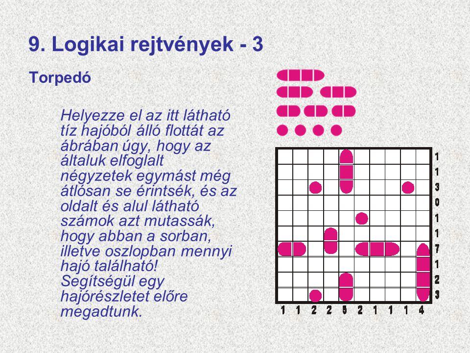 9. Logikai rejtvények - 3 Torpedó Helyezze el az itt látható tíz hajóból álló flottát az ábrában úgy, hogy az általuk elfoglalt négyzetek egymást még